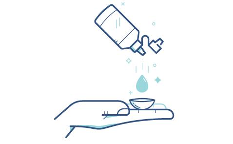 Выбросьте однодневные одноразовые или почистите и продезинфицируйте специальным средством многоразовые линзы