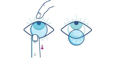 Коснувшись нижнего края линзы, сместите её в нижнюю часть глаза